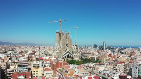 peoples : Flying Drone over Sagrada Familia at City Barcelona - Eixample District 4k