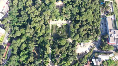 Flying with Drone over Labyrinth Park of Horta at City Barcelona