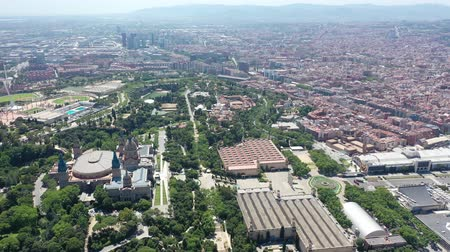 the city : Flying with Drone over Museu Nacional dArt de Catalunya in City Barcelona | 4k Stock Footage