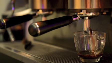 kahve molası : Espresso machine brewing a coffee espresso  Stok Video