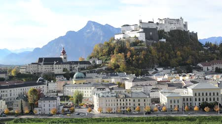mozart : Panoramic view of the historic city of Salzburg with Fortress Hohensalzburg in the background  in Salzburg, Austria