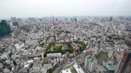 magas, szög, kilátás : High angle view over city buildings and streets in Central Tokyo