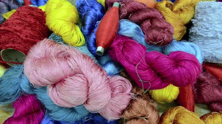 silkworm : Raw silk thread background