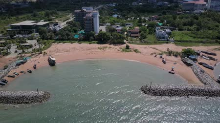 groyne : Aerial. Stone wave breaker into the sea at Pattaya, Chonburi, Thailand