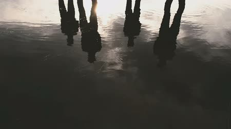 lanscape : Girls standing in the lake and looks forward Stock Footage