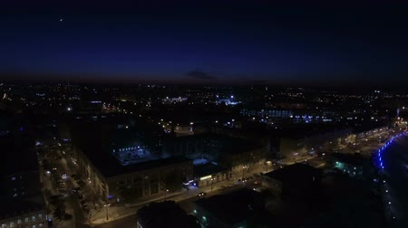 Night city on a winter night from a birds eye view