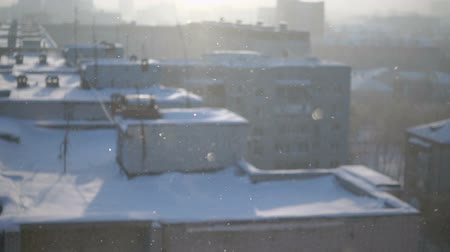 It is snowing outside close up Stock Footage