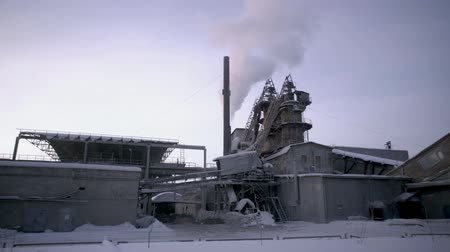 Manufacture factory at winter Stock Footage