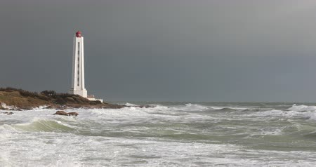 Armandeche lighthouse in the Sables dOlonne (France) Stock Footage