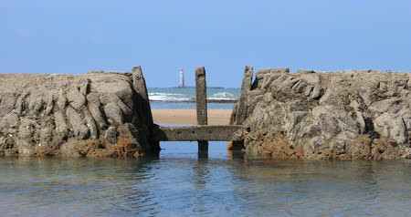 Fish lock on the Paracou beach (Les Sables dOlonne, Vendee)