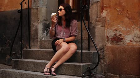 model : Quiet evening in old town, eating icecream  Stock Footage