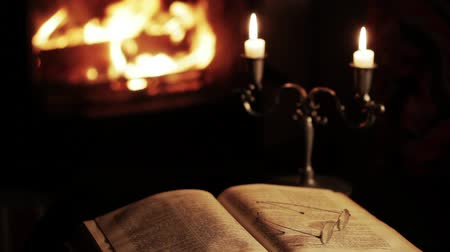 livro : Old book and glasses in front of the fireplace. Vídeos