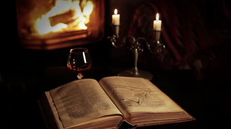 livro : Old book and glasses in front of the fireplace.With a glass of brandy. Vídeos