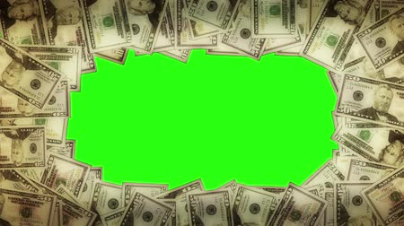 финансы : A pile of dollar notes gets smaller and opens up a hole with chroma key.