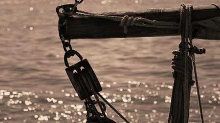 estocolmo : Ropes and tackle on an old sailing ship. Vintage style.