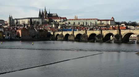 hradcany : Prague Castle and Charles Bridge with Vltava river (Hradcany)