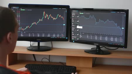 handlowiec : Man works on the financial market (exchange) on computer