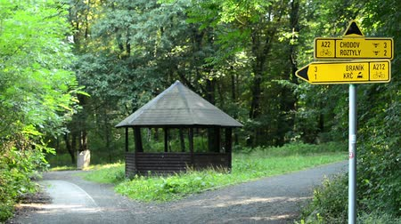 yelow : path labels in the forest (park) - cyclist passes - trees with wooden shelter