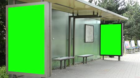 banknoty : bus stop - billboard - green screen