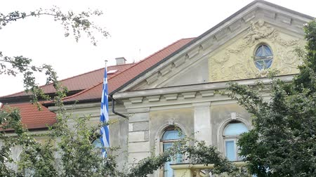 rhodes : Greek Embassy in Prague, Czech Republic - with tress and cloudy sky