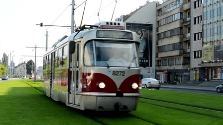 electric : city: urban street - passing tram - cars - buildings - green grass
