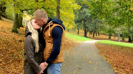dudak : young model happy couple in love - couple kiss - autumn park (nature) Stok Video