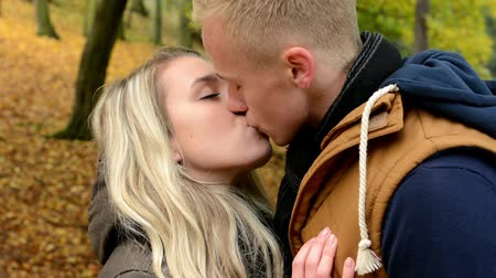 genç çift : young model happy couple in love - couple kiss - autumn park (nature) - closeup Stok Video