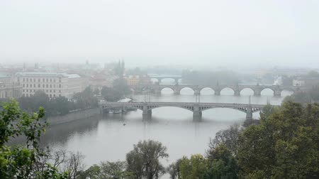 prague bridge : panorama of city - Prauge (Czech Republic) - morning mist - nature