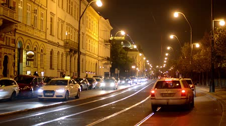 Прага : night city - night urban street with cars - lamps(lights) - car headlight