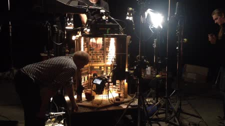 kayıt : film production - behind scenes - lighting - puppet theatre Stok Video