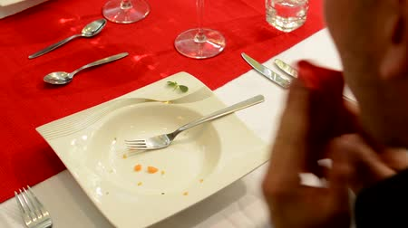 meal : Man eated food - finished food Stock Footage