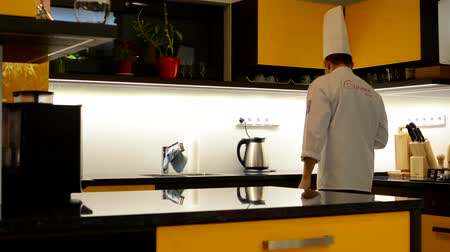 kitchen furniture : chef cook leaves the clean kitchen