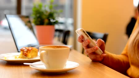 xícara de café : woman works on smartphone in cafe - shot on hand - computer, coffee and cake in background - urban street with cars in background Stock Footage