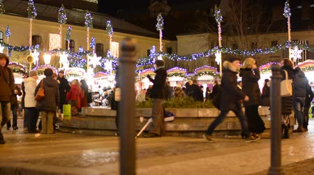 cseh : Christmas marketplace (shops) with people on the street - decorations - building in background Stock mozgókép