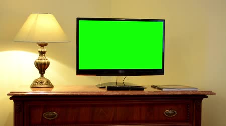 tv screen : TV(television) - green screen - luxury room Stock Footage