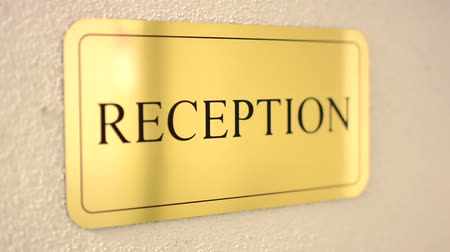 reception : sign - reception - hotel Stock Footage