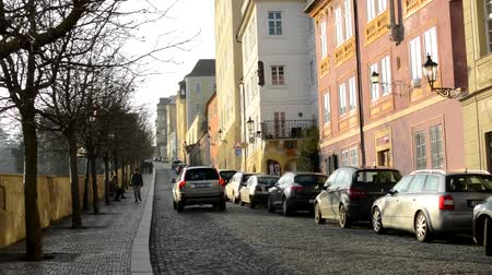 múló : PRAGUE, CZECH REPUBLIC - FEBRUARY 6, 2015: urban vintage street with cars and walking people - retro buildings - trees Stock mozgókép