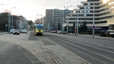 parke taşı : PRAGUE, CZECH REPUBLIC - FEBRUARY 6, 2015: city - urban street with cars and trams - buildings Stok Video