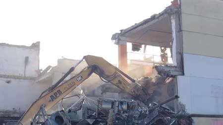 bombardment : PRAGUE, CZECH REPUBLIC - FEBRUARY 28, 2015: demolition of buildings - crane