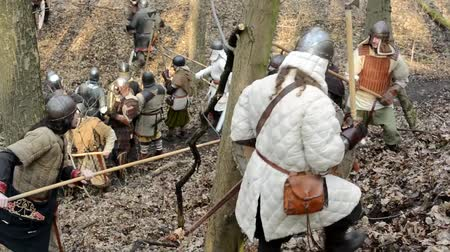 средневековый : PRAGUE, CZECH REPUBLIC - FEBRUARY 21, 2015: medieval battle - war - soldiers fight