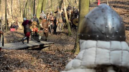 pojedynek : PRAGUE, CZECH REPUBLIC - FEBRUARY 21, 2015: medieval battle - war - soldiers fight - two men fight (duel) and soldiers watch them Wideo