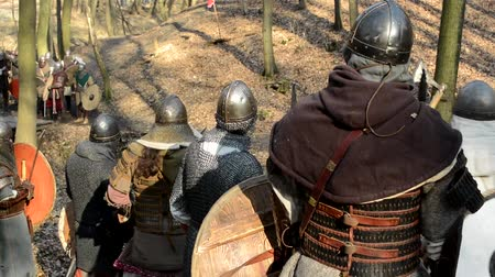 şövalye : PRAGUE, CZECH REPUBLIC - FEBRUARY 21, 2015: medieval battle - war - soldiers wait in row Stok Video