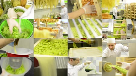 entire : 4K montage compilation  production of pasta professional  entire process  chef worker