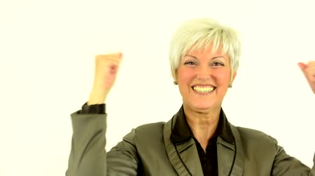 orta : business middle aged woman rejoices (joy) - white background - studio