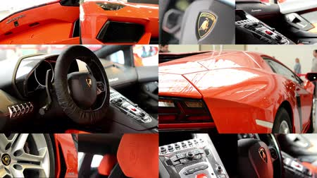 car logo : PRAGUE, CZECH REPUBLIC, CAR EXHIBITION - SEPTEMBER 27, 2014: 4K montage (compilation) - luxury fast car (exterior and interior) - people on exhibition - Lamborghini - Aventador - details (dashboard)