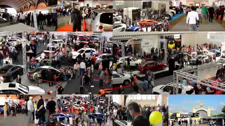 automobilový průmysl : PRAGUE, CZECH REPUBLIC, CAR EXHIBITION - SEPTEMBER 27, 2014: 4K montage (compilation) - car exhibition - parked cars and people walking and watching cars - interior - timelapse Dostupné videozáznamy