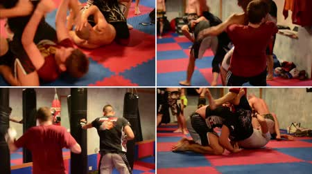 gaiola : PRAGUE, CZECH REPUBLIC: AUGUST 2014: 4K montage (compilation) - men do sport - combat sports (fighting men) - in gym