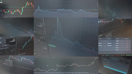 financial : 4K montage (compilation) - financial market (exchange) - graph - shot on the monitor