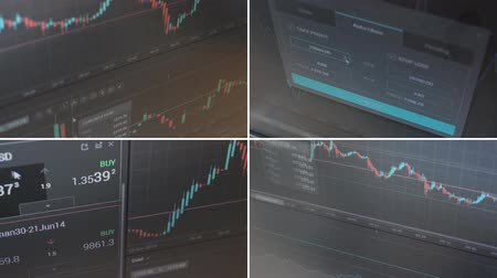 makler : 4K montage (compilation) - financial market (exchange) - graph - shot on the monitor