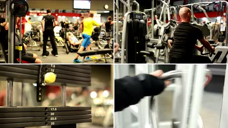 ćwiczenia : PRAGUE, CZECH REPUBLIC: JANUARY 2014: 4K montage (compilation) - people work out on the machines in the fitness center - lift fitness weights - people walk through the door